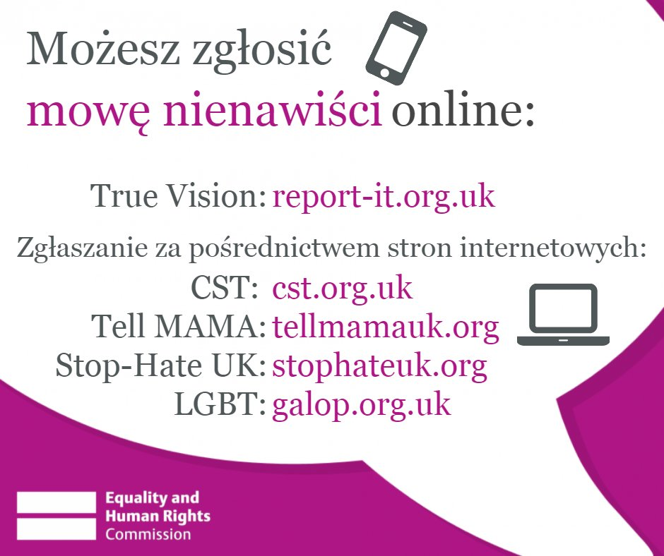 Where to report race hate crime Twitter graphic (in the Polish language)