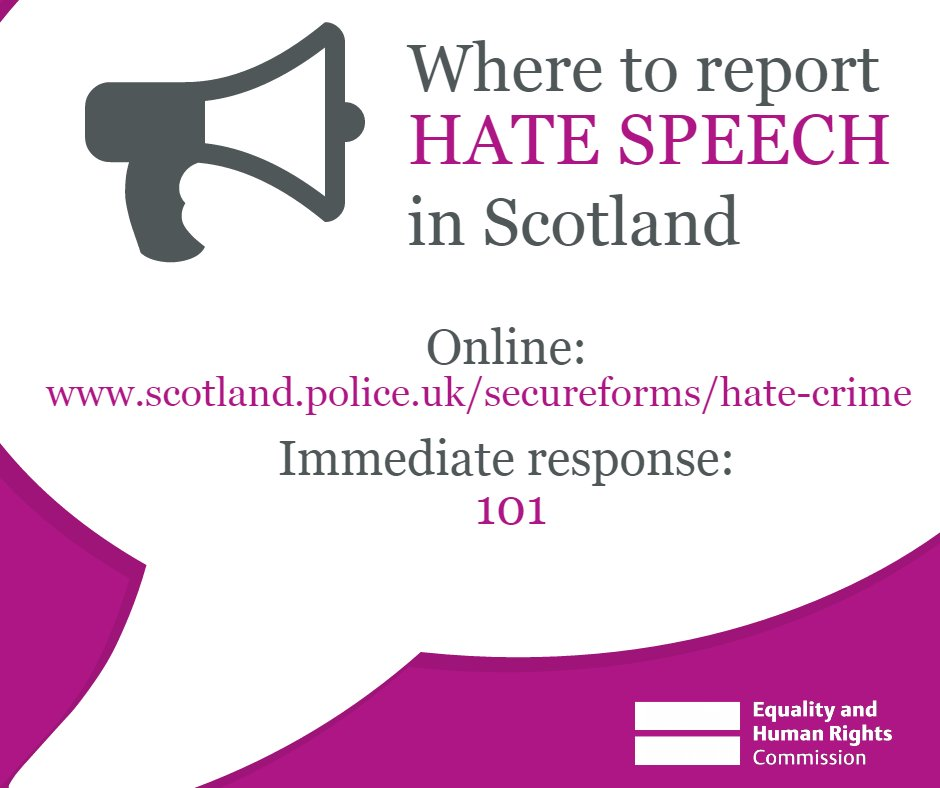 Where to report hate speech in Scotland (Twitter graphic)