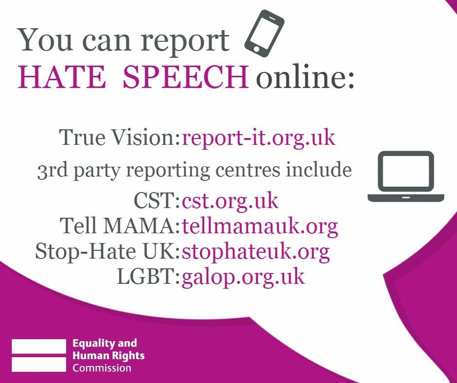 Report hate speech online (Twitter graphic)