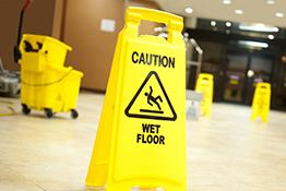 Cleaners' rights: 'caution, wet floor' sign