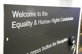 Welcome to the Equality and Human Rights Commission sign at our Manchester reception