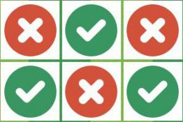 Green ticks and red crosses in a table