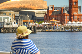 Woman overlooking Cardiff Bay