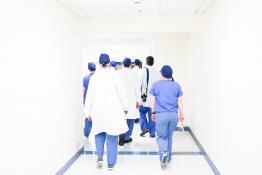 Medical doctors in hospital hallway