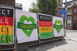 grenfell signs outside tube station