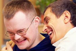 Laughing disabled friends