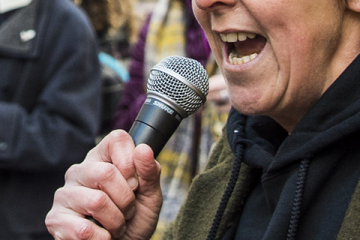 Speaker at the women's rights march in Manchester
