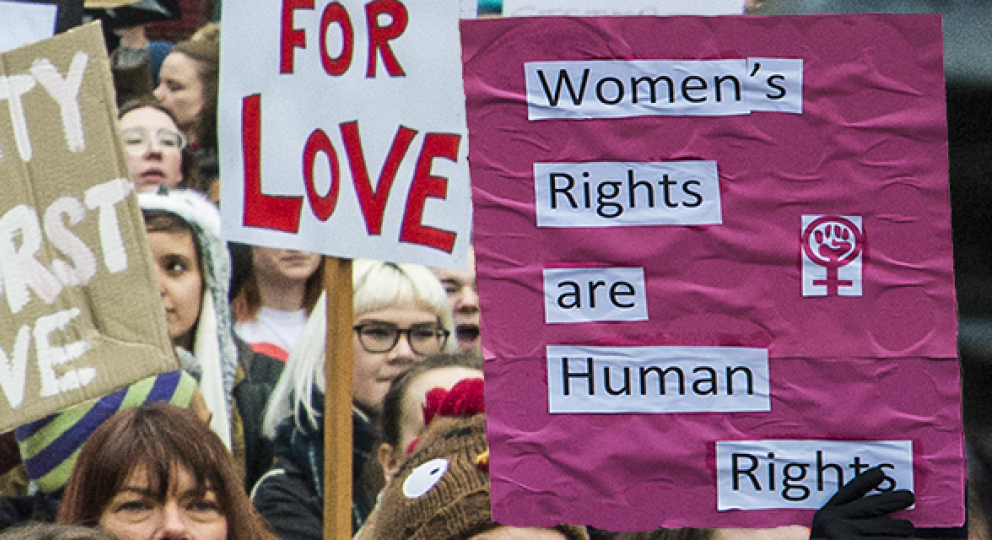 Attendees at the women's march in Manchester