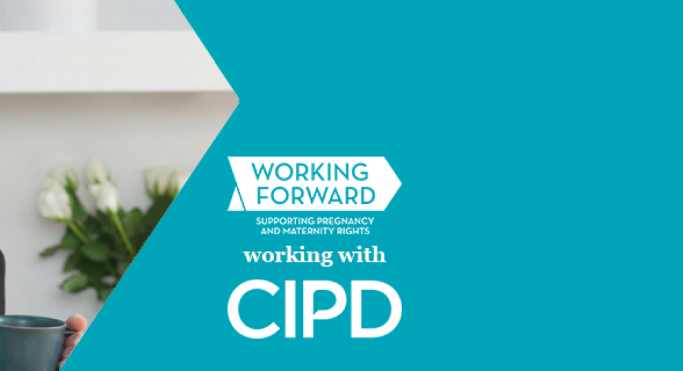 Working Forward, working with CIPD: image of working mother holding her baby