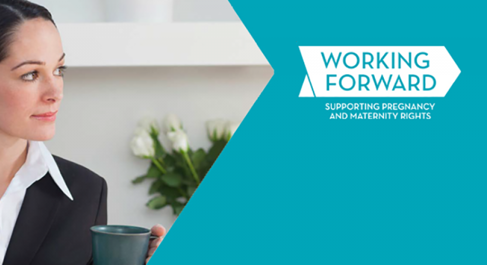 Working mother and baby alongside the Working Forward logo