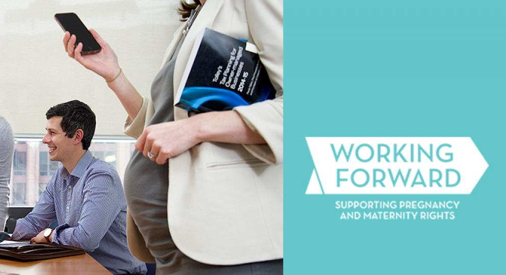 Working Forward logo: a pregnant woman talks to colleagues in a meeting room