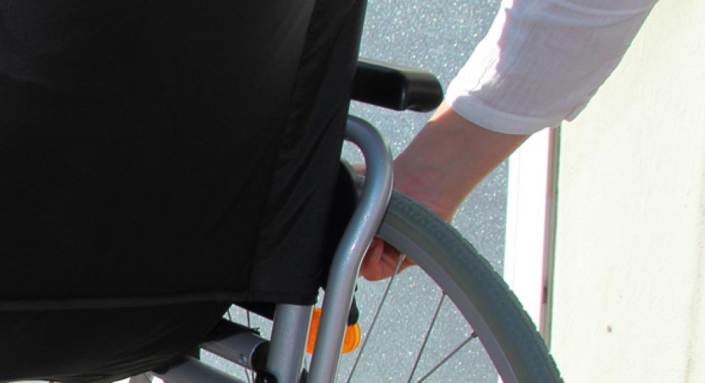 A wheelchair on a ramp