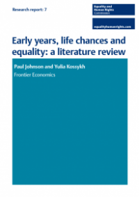 This is the cover of Early years, life chances and equality: a literatre review