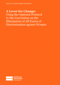 This is the cover for A lever for change (CEDAW report) publication