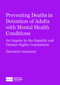 Publication cover for Preventing Deaths in Detention of Adults with Mental Health Conditions (Executive Summary)