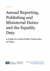 This is the cover of Annual reporting, publishing and ministerial duties and the equality duty publication