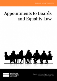 This is the cover for Appointments to boards and equality law publication