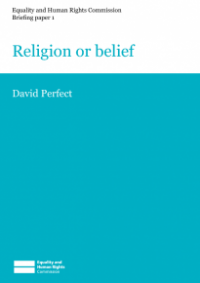 This is the cover of Briefing paper 1: religion or belief