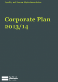This is the cover of the Corporate Plan 2013/14 publication