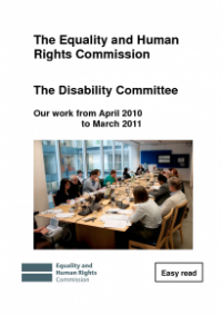 This is the cover of the Disability Committee workplan 2010/11 easy read publication