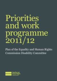 This is the cover of the Disability Committee workplan 2011/12 publication