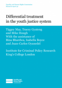 This is the cover of Differential treatment in the youth justice system publication
