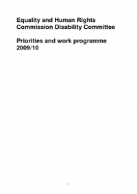 This is the cover of the Disability Committee workplan 2009/10 publication