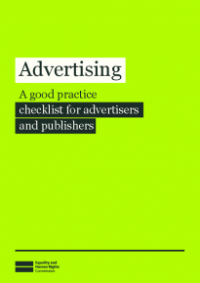 This is the cover of Advertising: A good parctice checklist for advertisers and publishers publication