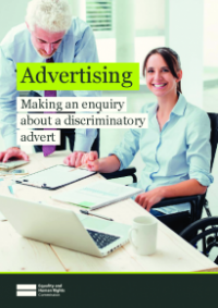 Front cover of Making an enquiry about a discriminatory advert publication