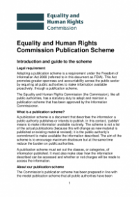 This is the cover of the Equality and Human Rights Commission publication scheme