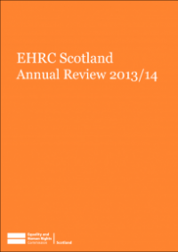 This is the cover of EHRC Scotland annual review 2013/14 publication