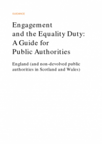 This is the cover of Engagament and the equality duty: a guide for public authorities publication