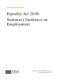 This is the cover of Equality Act 2010: summary guidance on employent publication