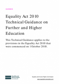 This is the cover of Equality Act 2010 techincal guidance on further and higher education publication