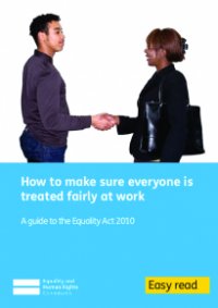 This is the cover for How to make sure everyone is treated fairly at work Easy Read