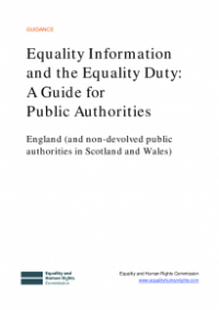 This is the cover for Equality information and equality duty: a guide for public authorities (England) publication