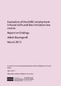 This is the cover of the Evalution the Commission employment tribunal skills and discrimination law course publication