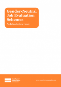 This is the cover for Gender-neutral job evaluation schemes: an introductory guide