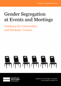 This is the cover for Gender segregation at events and meetings guidance for universities and students' unions
