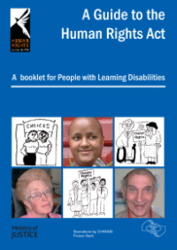 This is the cover of A guide to the Human Rights Act: A booklet for people with learning disabilities