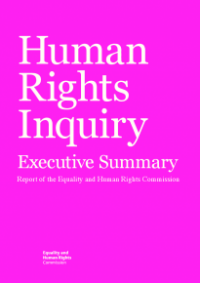 This is the cover of the Human rights inquiry executive summary