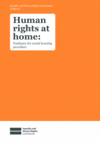 This is the cover for Human rights at home: guidance for social housing providers