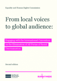The cover of From local voices to global audience: Engaging with the International Convention for the Elimination of All Forms of Racial Discrimination