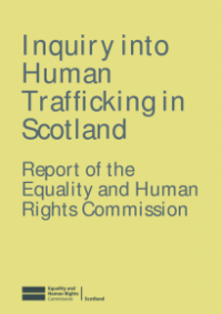 This is the cover of Inquiry into human trafficking in Scotland report