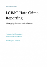 This is the cover of LGB and T hate crime reporting: identifying barriers and solutions