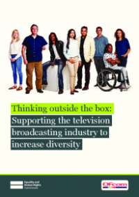 This is the cover for Thinking outside the box: supporting the television broadcasting industry to increase diversity publication