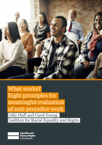 Publication cover: Guide to evaluating anti-prejudice work