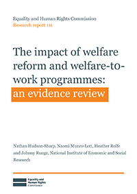 Publication cover: The impact of welfare reform and welfare-to-work programmes, an evidence review