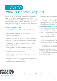 Publication cover: how to write a handover plan