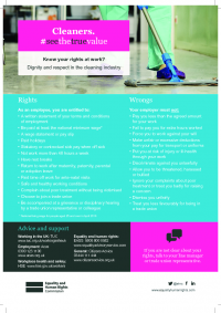 cleaners rights pocket guide know your rights at work